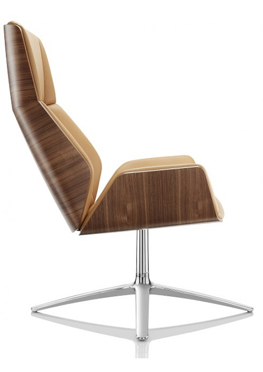 Kruze High Back Lounge Chair Oak Back Side