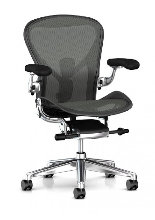 Herman Miller Aeron Chair (Remastered) Graphite with Polished Base & Chassis